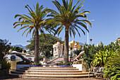 lizard sculpture, El Jardin de las Delicias, Parque Botanico, town parc, designed by the artist Luis Morera, Los Llanos de Aridane, UNESCO Biosphere Reserve, La Palma, Canary Islands, Spain, Europe