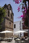 bell tower, 17th .century, Iglesia Nuestra Senora de Los Remedios, church, Restaurante Pergola, restaurant, Los Llanos de Aridane, UNESCO Biosphere Reserve, La Palma, Canary Islands, Spain, Europe