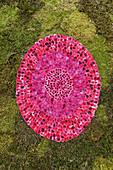 image made of flower petals, carpet of flowers for the procession, Corpus Christi, Feast of Corpus Christi, Villa de Mazo, UNESCO Biosphere Reserve, La Palma, Canary Islands, Spain, Europe