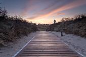 Footpath, Dune, Sunrise, Dawn, Water Tower, Langeoog, North Sea, East Frisian Islands, East Frisia, Lower Saxony, Germany, Europe