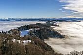 Panoramic view from Uetliberg, Uto Kulm, fog, swiss alps, Kanton Zurich