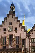City Hall, Facade of historic building , Roemerberg, background Commerbank tower, Frankfurt am Main, Hesse, Germany