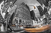 Paramount building, Hard Rock Cafe, blurred taxi, Times Square, Broadway 1501, New York City, USA