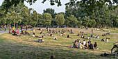 Goerlitzer Park, people relaxing at sunset, Kreuzberg, Berlin