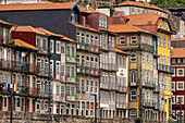 Old residential  buildings in Ribeira historic district , Porto, Portugal