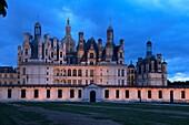 Chambord, Chambord Castle, Chateau de Chambord, Dusk, Loir et Cher, Loire Valley, Loire River, Val de Loire, UNESCO World Heritage Site, France.