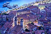 View of rooves of Kotor and its harbour, Kotor, Montenegro