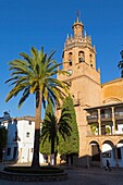 Ronda, Malaga Province, Andalusia, southern Spain. Church of Santa Maria la Mayor in Plaza Duquesa de Parcent.