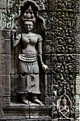 Relief of apsara on the wall of Wat Phou,South Laos,Southeast Asia.