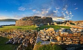 The Broch of Gurness is a rare example of a well preserved brooch village. Dating from 500 to 200BC the central round tower probably reached 10 meters. This was surrounded by thatched roofed houses. The settlement was surrounded by walls and two deep ditc
