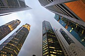 Singapore, Raffles Place, skyscrapers, highrise office buildings,.