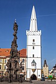 Gothic City Hall Tower, Kadan, Northern Bohemia, Czech Republic, Europe.