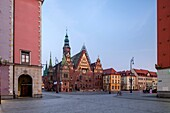 Dawn on the market square in Wroclaw old town, Poland.