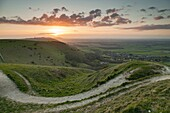 Spring sunset at Devil's Dyke, South Downs National Park near Brighton, West Sussex, England.