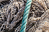 Fishing nets and a thick rope in the harbour, Port de Sóller, Mallorca, Spain