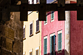 View through the city gate into the old town, Alcudia, Mallorca, Spain