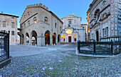 Duomo Square during dusk. Bergamo(Upper Town), Lombardy, Italy.