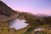 Lais digl Crap Alv with the Piz Ela in the background during sunrise. Albula Pass, Engadin Valley, Graubünden, Switzerland, Europe.