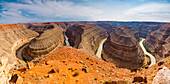 Panoramic view of San Juan River from Goosenecks State Park, San Juan, Mexican Hat, Utah, Usa
