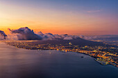 Gulf of Naples, Campania, Italy. High angle view of the Gulf of Naples and Vesuvius