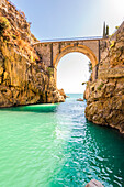 Fiord of Furore, Furore, Amalfi coast, Salerno, Campania, Italy. The beach and the bridge of Furore