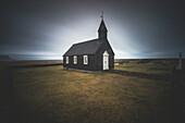 Budir, Snaefellsnes Peninsula, Western Iceland, Iceland. The black church of budir