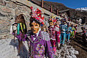 Aosta Valley,Gran San Bernardo Valley,Saint-Oyen,Italy, Europe. Alpine carnival Coumba Freida of Saint-Oyen