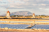 Salt pans with rows of tanks and two fully functional windmills on the coast connecting Marsala to Trapani, Trapani province,Sicily,Italy