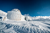 Astronomical observatory covered with ice, Campo Imperatore, L'Aquila province, Abruzzo, Italy, Europe
