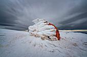 Bivacco Pelino on Monte Amaro covered with ice, Maiella, L'Aquila province, Abruzzo, Italy, Europe