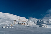Astronomical observatory after an ice and wind storm, Campo Imperatore, L'Aquila province, Abruzzo, Italy, Europe