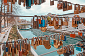Love padlocks on the Butchers' Bridge, Ljubljana, Slovenia, Europe