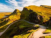 Winding road, Quiraing, Trotternish peninsula, Isle of Skye, Scotland, Great Britain, Europe