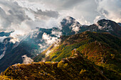 Mountains in a cloudy day,Apuan Alps,Garfagnana,Lucca province,Tuscany,Italy,Europe