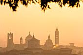 Sunrise in Bergamo Upper Town (città alta), Bergamo City, Province of Bergamo, Lombardy district, Italy, Europe