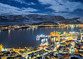 Alesund, Vestlandet, More og Romsdal county, Norway, Europe. Night view from above of Alesund port, one of most important city of Norway.