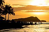 Las Cabanas Beach at sunset, El Nido, Palawan, Philippines