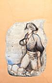 Figure of Napoleon Bonaparte painted on wall, Poggio, Elba Island, Livorno Province, Tuscany, Italy