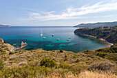 Sailboats in the turquoise sea, Sant'Andrea Beach, Marciana, Elba Island, Livorno Province, Tuscany, Italy