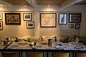 Table set in the dining room, Barbara Fish House restaurant, Torshavn, Streymoy Island, Faroe Islands