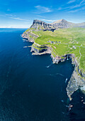 Panoramic of the Atlantic ocean and cliffs, Gasadalur, Vagar Island, Faroe Islands