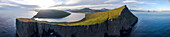 Panoramic of cliffs and lake Sorvagsvatn, Vagar Island, Faroe Islands