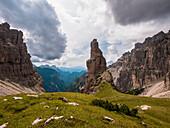 The Campanile di Val Montanaia peak in the Natural Park of the Friulian Dolomites, Pordenone province, Friuli Venezia Giulia region, Italy, Alps, Europe