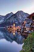 The austrian village of Hallstatt and the lake, Upper Austria, Austria