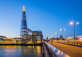 The Shard and the London bridge, London, United Kingdom.