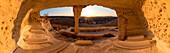 Panoramic image of an ancient kazakh cemetery Shakpak Sai at sunset at Caspian Depression, Aktau, Mangystau region, Kazakhstan