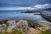Mood of clouds at beach of Gimsoy, Lofoten, Nordland, Norway