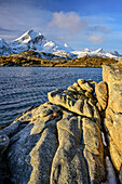 Rocks at beach with view to Moskenesoya, Lofoten, Nordland, Norway