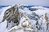 Rock spires of Puezspitze, Natural Park Puez-Geisler, UNESCO world heritage site Dolomites, Dolomites, South Tyrol, Italy