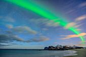 Beach with polar lights and stary sky, northern lights, aurora borealis, Lofoten, Nordland, Norway